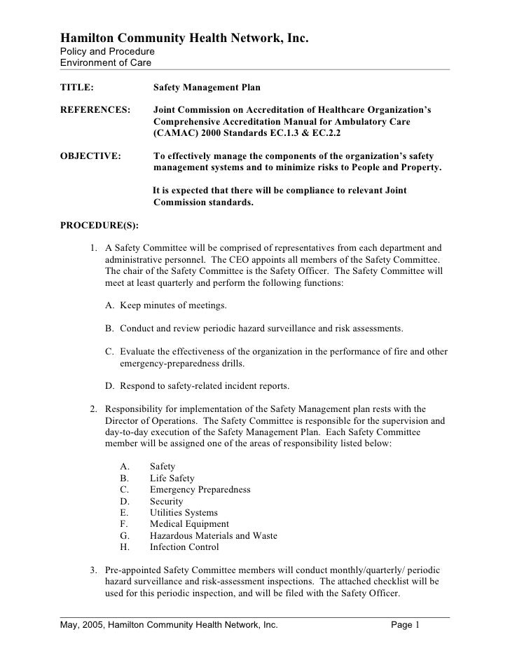 Hamilton Community Health Network, Inc.Policy and ProcedureEnvironment of CareTITLE:                Safety Management Plan...