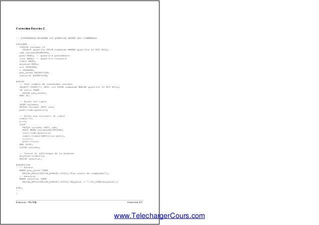 Telecharger Exercices corrigés PL/SQL