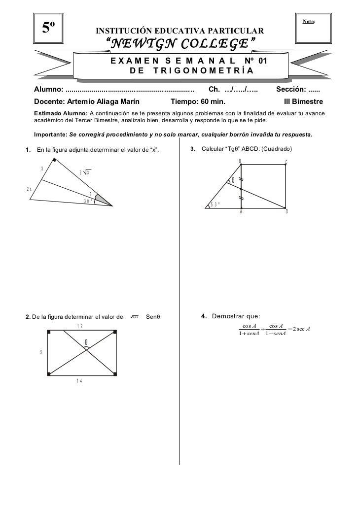 """Nota:           5º                      INSTITUCIÓN EDUCATIVA PARTICULAR                                    """"NEWTGN COLLEG..."""