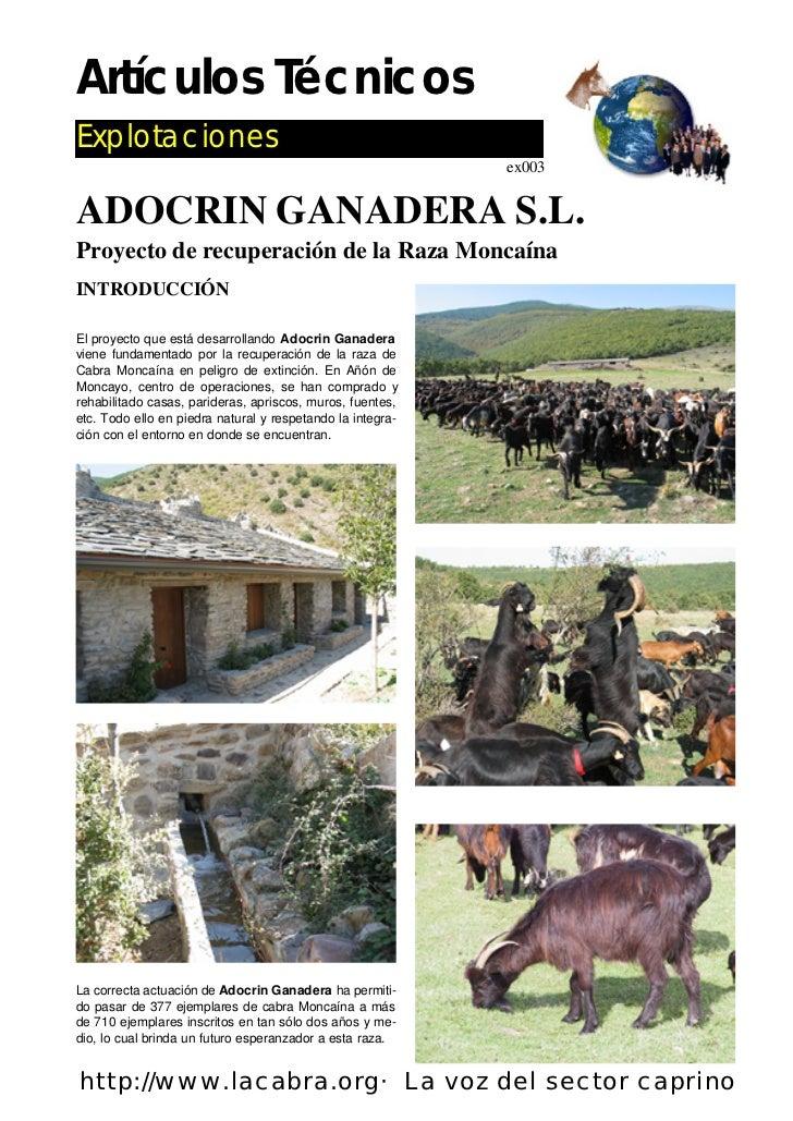 Artículos TécnicosExplotaciones                                                            ex003ADOCRIN GANADERA S.L.Proye...