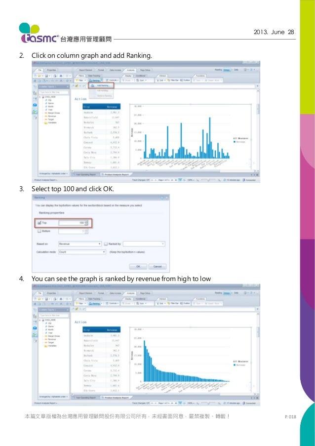 P. 018 2013. June 28 本篇文章版權為台灣應用管理顧問股份有限公司所有,未經書面同意,嚴禁複製、轉載! 2. Click on column graph and add Ranking. 3. Select top 100 a...