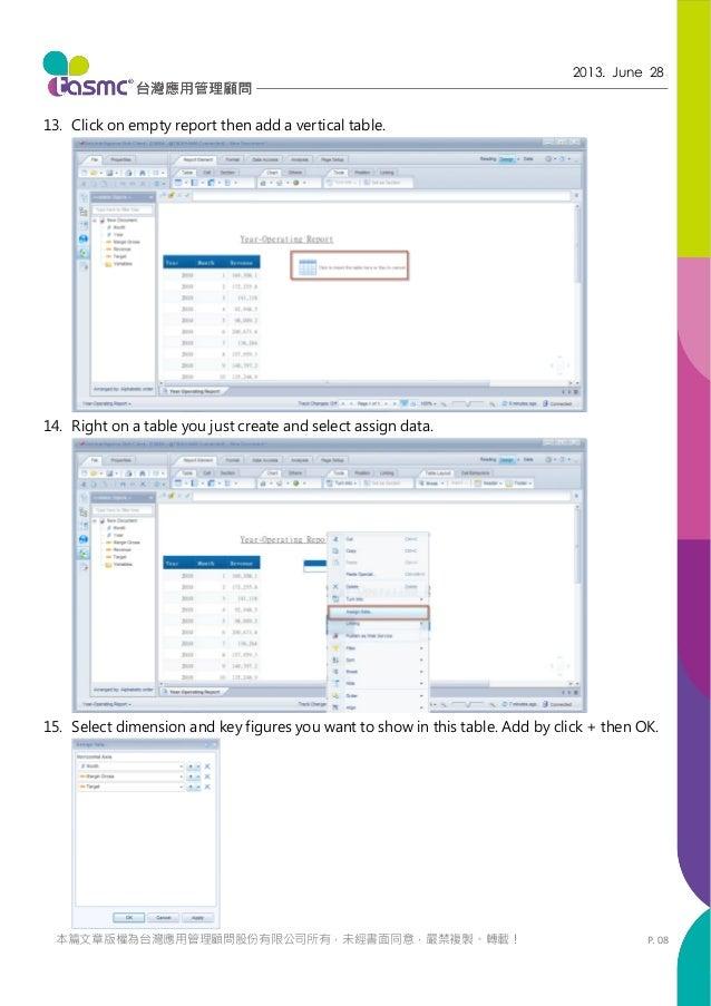 P. 08 2013. June 28 本篇文章版權為台灣應用管理顧問股份有限公司所有,未經書面同意,嚴禁複製、轉載! 13. Click on empty report then add a vertical table. 14. Right...