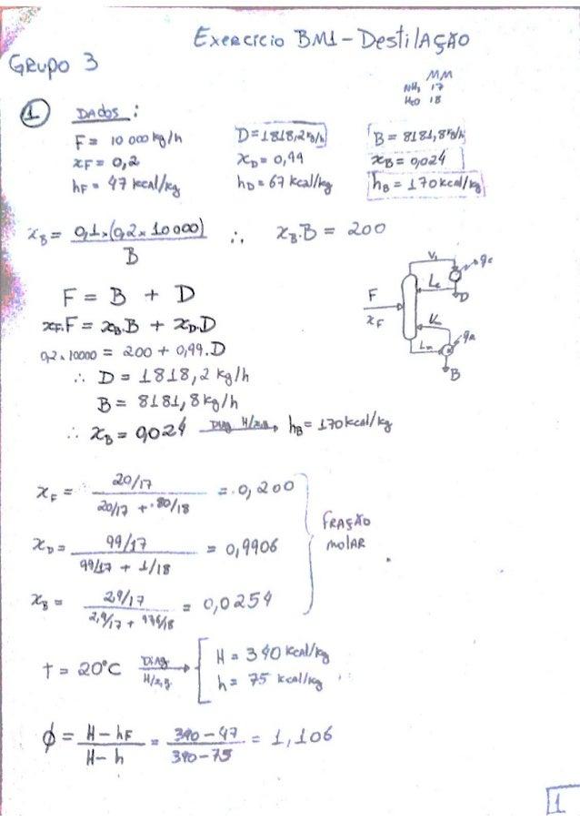 Ex1 opii lista 1 destilação amonia água