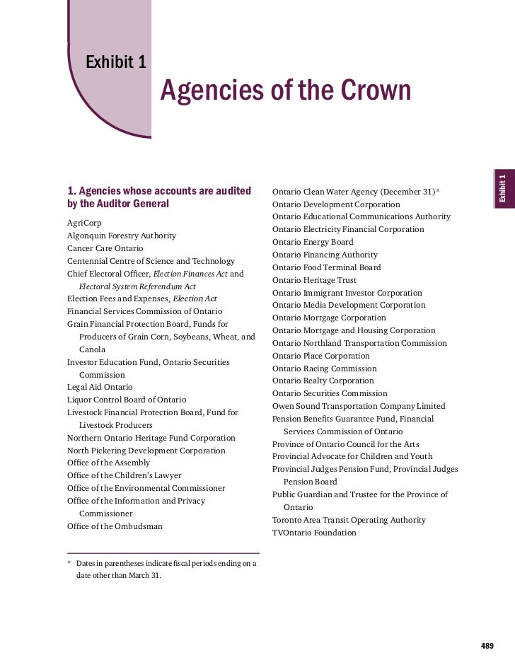 Exhibit 1                            Agencies of the Crown                                                                ...