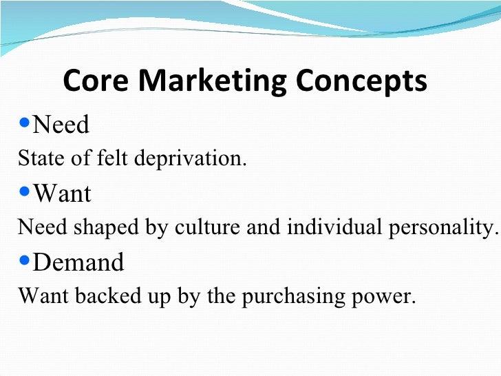 Core Marketing Concepts <ul><li>Need </li></ul><ul><li>State of felt deprivation. </li></ul><ul><li>Want </li></ul><ul><li...