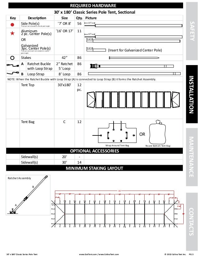 30 X 180 Pole Tent Installation Instructions