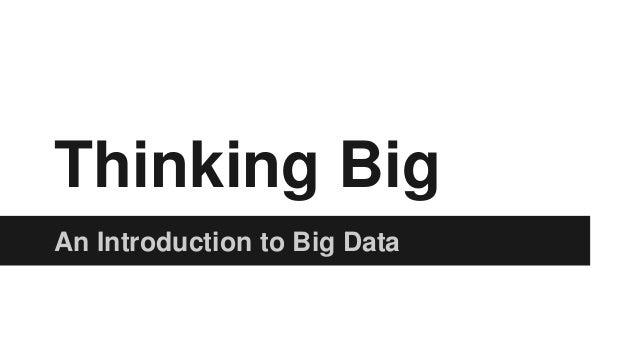 Thinking Big An Introduction to Big Data