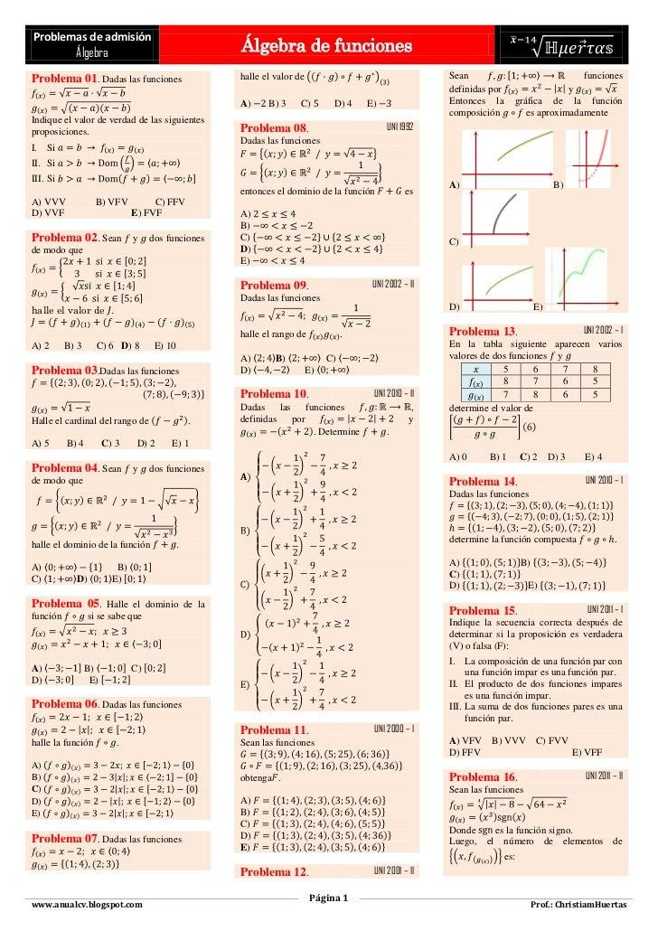 Problemas de admisión            Álgebra                                 Álgebra de funcionesProblema 01. Dadas las funcio...