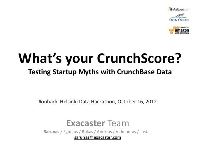 What's your CrunchScore? Testing Startup Myths with CrunchBase Data   #oohack Helsinki Data Hackathon, October 16, 2012   ...