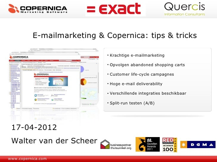 E-mailmarketing & Copernica: tips & tricks                             • Krachtige e-mailmarketing                        ...