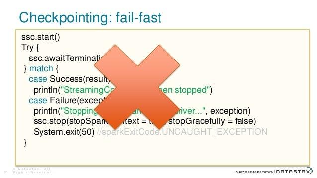 Checkpointing: fail-fast © D a t a S t a x , A l l R i g h t s R e s e r v e d .20 ssc.start() Try { ssc.awaitTermination(...