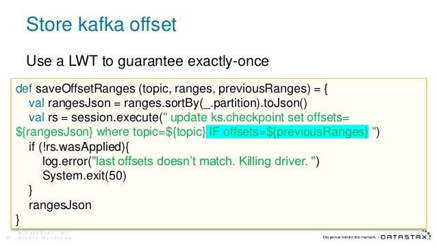Store kafka offset © D a t a S t a x , A l l R i g h t s R e s e r v e d .27 def saveOffsetRanges (topic, ranges, previous...