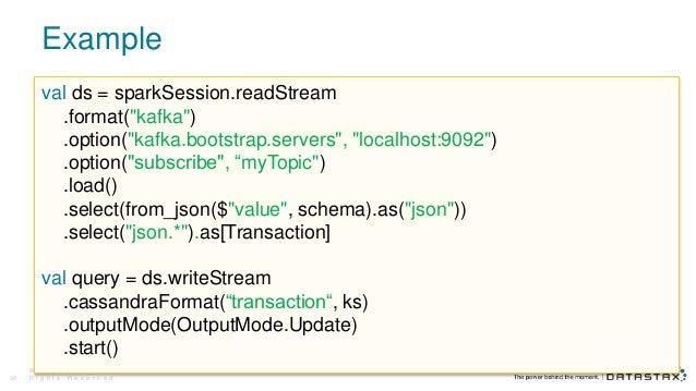"Example © D a t a S t a x , A l l R i g h t s R e s e r v e d .39 val ds = sparkSession.readStream .format(""kafka"") .optio..."