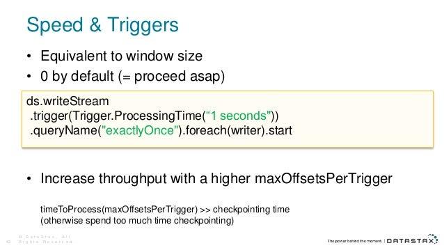 Speed & Triggers © D a t a S t a x , A l l R i g h t s R e s e r v e d .43 • Equivalent to window size • 0 by default (= p...