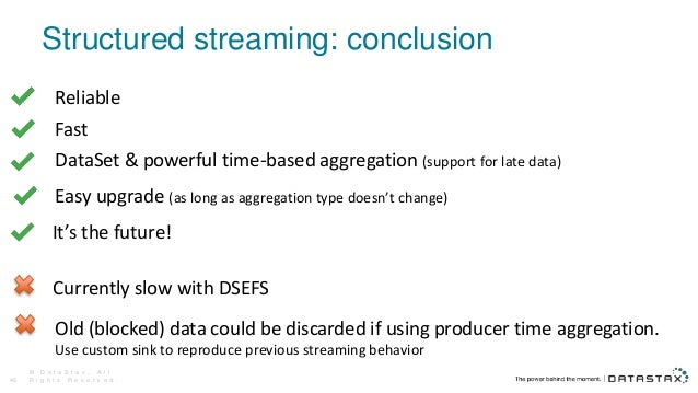 Structured streaming: conclusion © D a t a S t a x , A l l R i g h t s R e s e r v e d .46 Reliable Fast DataSet & powerfu...
