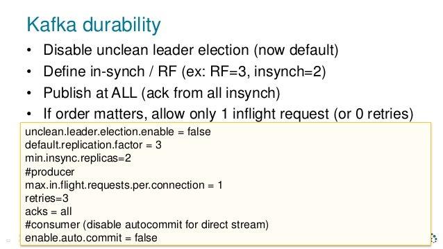 Kafka durability © D a t a S t a x , A l l R i g h t s R e s e r v e d .52 • Disable unclean leader election (now default)...