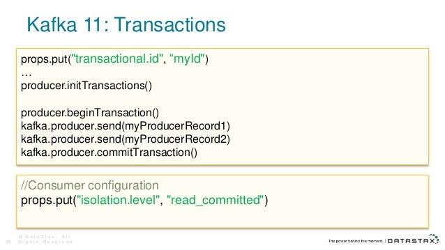 """Kafka 11: Transactions © D a t a S t a x , A l l R i g h t s R e s e r v e d .55 props.put(""""transactional.id"""", """"myId"""") … p..."""