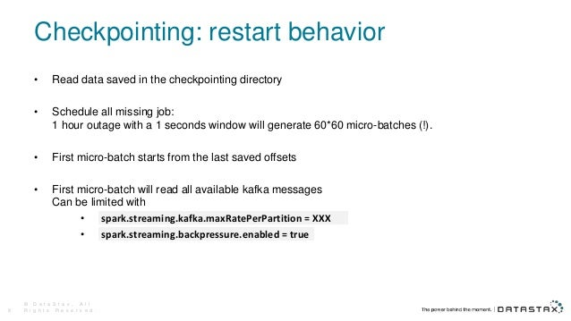 Checkpointing: restart behavior • Read data saved in the checkpointing directory • Schedule all missing job: 1 hour outage...