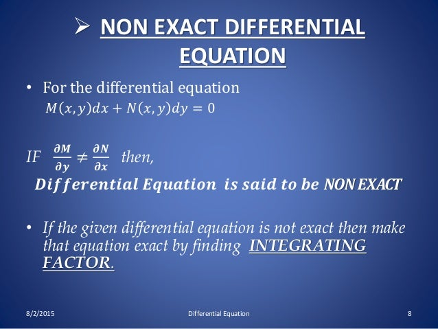 Exact & non differential equation