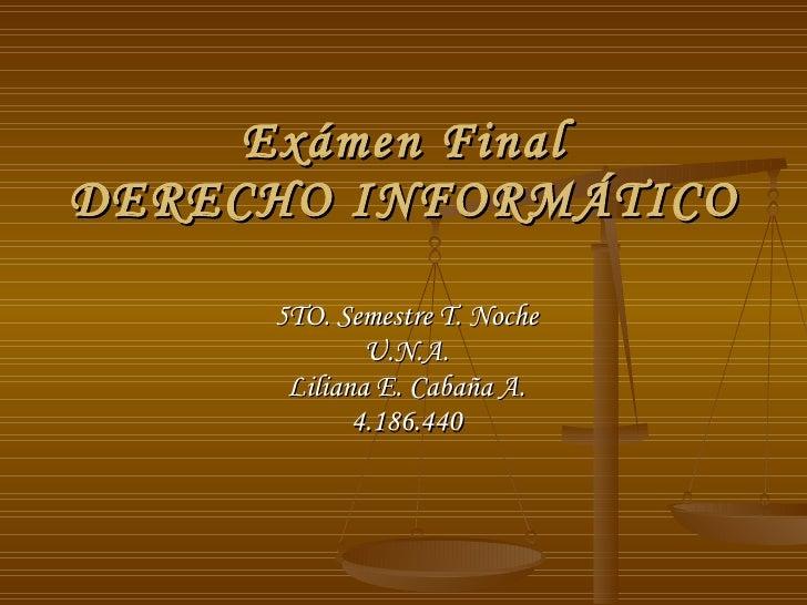 Exámen Final DERECHO INFORMÁTICO 5TO. Semestre T. Noche U.N.A. Liliana E. Cabaña A. 4.186.440