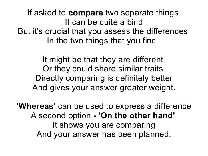 how to compare two poems