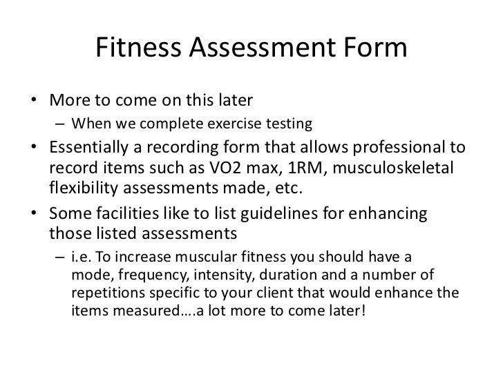 Exam 1 review301b – Fitness Assessment Form