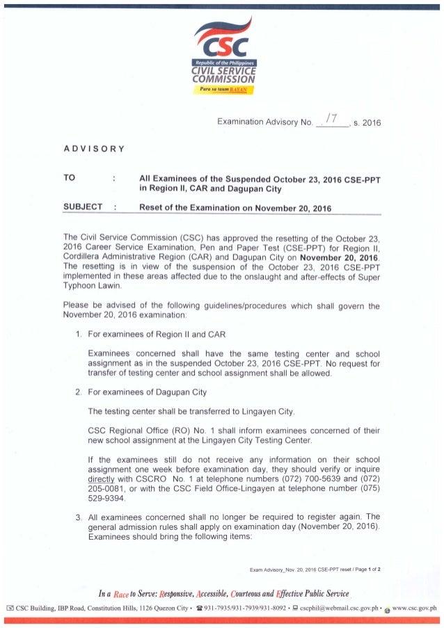 Resetting of Oct. 23 CSE-PPT - Exam advisory no. 17s2016