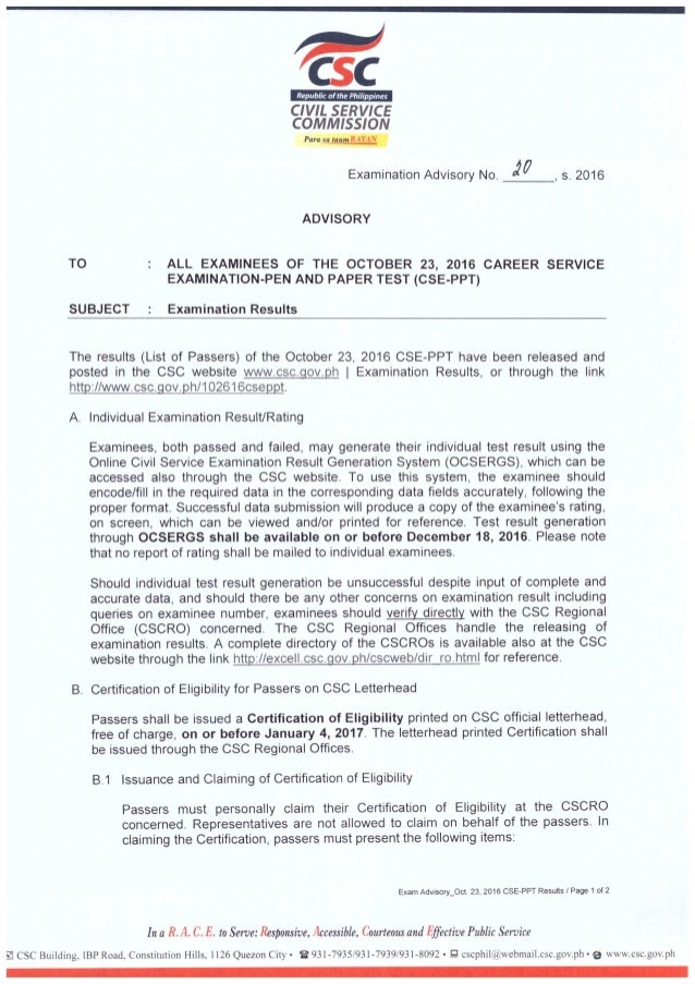 Exam advisory no20 s2016 (for all examinees in the Oct. 23, 2016 CSE-PPT)