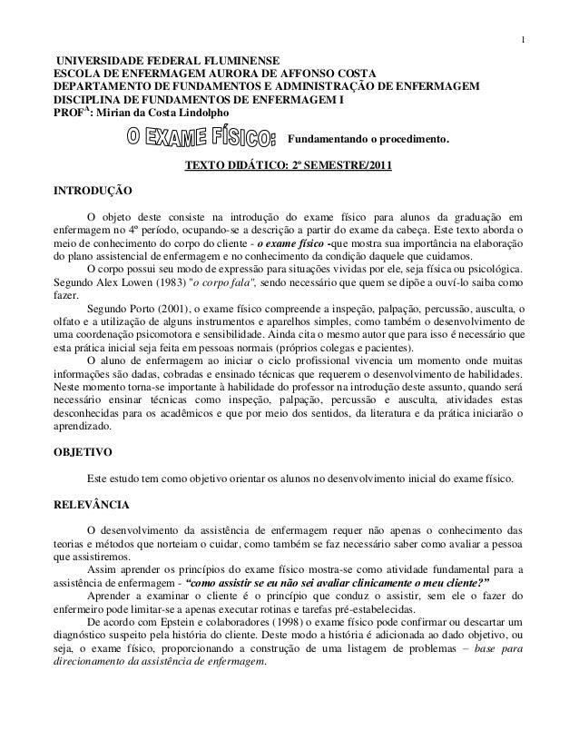 1  UNIVERSIDADE FEDERAL FLUMINENSE ESCOLA DE ENFERMAGEM AURORA DE AFFONSO COSTA DEPARTAMENTO DE FUNDAMENTOS E ADMINISTRAÇÃ...