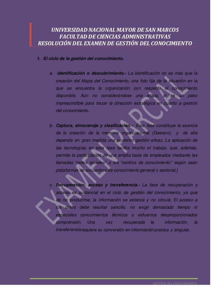 UNIVERSIDAD NACIONAL MAYOR DE SAN MARCOS<br />FACULTAD DE CIENCIAS ADMINISTRATIVAS<br />RESOLUCIÓN DEL EXAMEN DE GESTIÓN D...