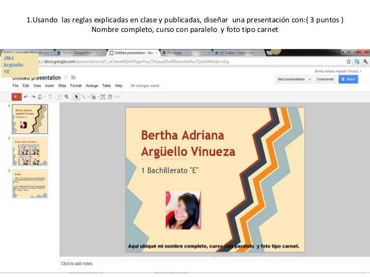 1.Usando las reglas explicadas en clase y publicadas, diseñar una presentación con:( 3 puntos )                   Nombre c...