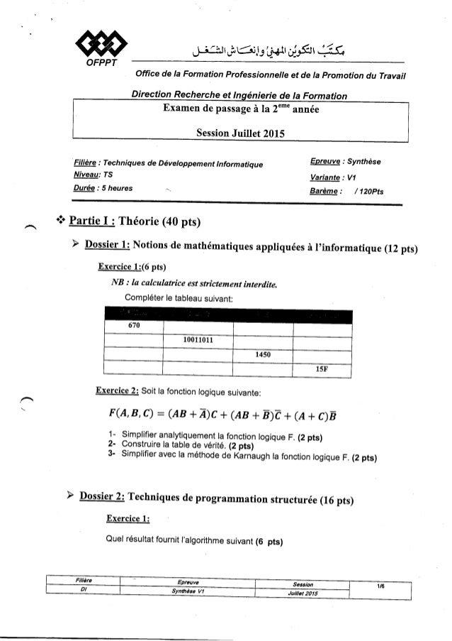@OFPPT office de la Formation Professionnelle et de Ia promotion du Travail Filière : Techniques de Développement lnformat...
