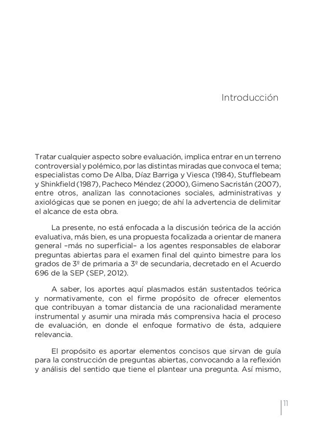14 Examen de preguntas abiertas Orientaciones para su elaboración Acuerdo 696 de la SEP lo que significa evaluar y calific...