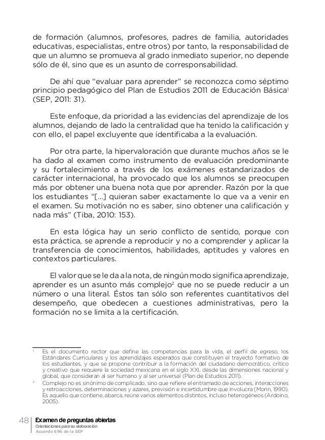 51Orientación general acerca de la evaluación formativa y el examen de preguntas abiertas Ma. Guadalupe Laurent Luna Actua...
