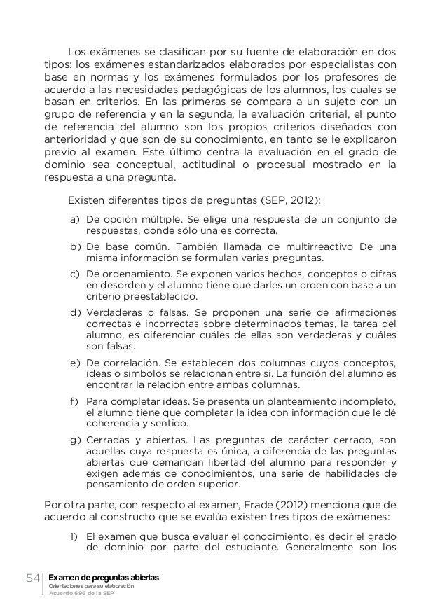57Orientación general acerca de la evaluación formativa y el examen de preguntas abiertas Ma. Guadalupe Laurent Luna • Qu...