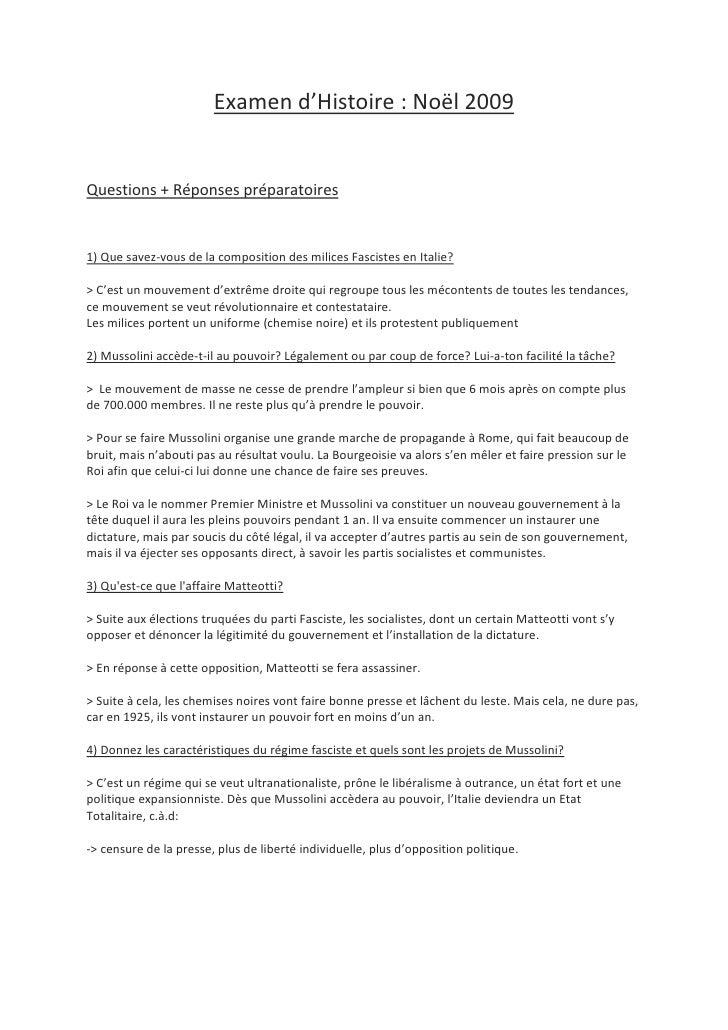 Examen d'Histoire: Noël 2009<br />Questions + Réponses préparatoires<br />1) Que savez-vous de la composition des milices...