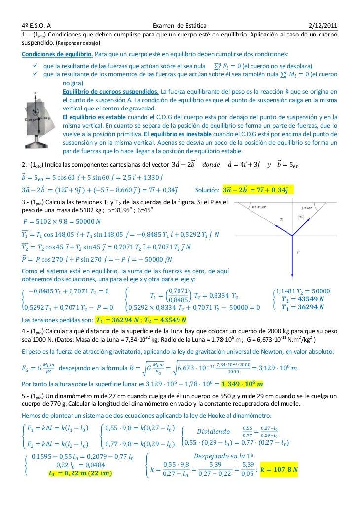 4º E.S.O. A                                   Examen de Estática                                        2/12/20111.- (1pto...