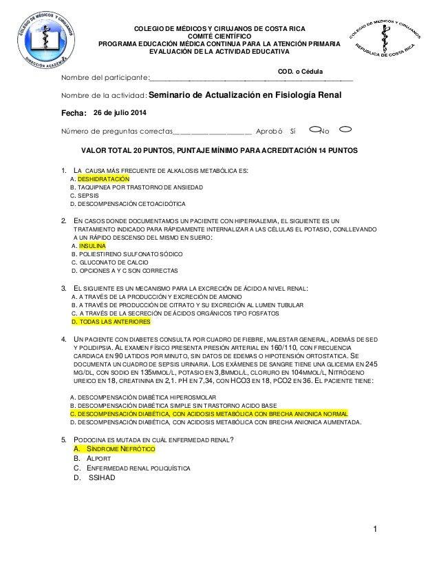 Examen Resuelto Fisiologia Renal
