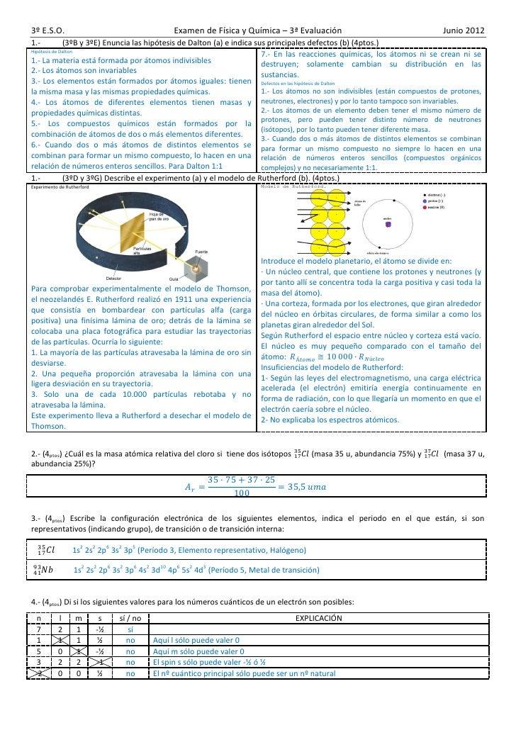 3º E.S.O.                                                     Examen de Física y Química – 3ª Evaluación                  ...