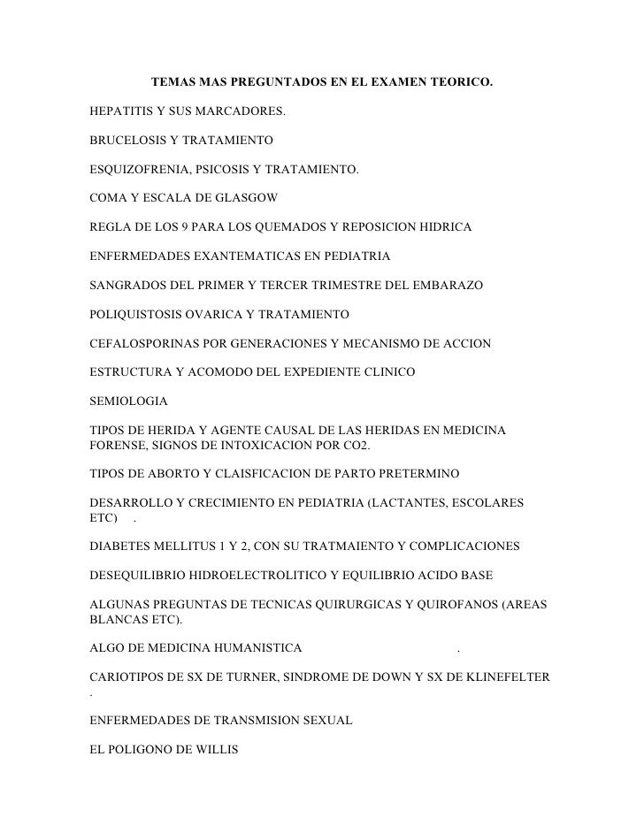 TEMAS MAS PREGUNTADOS EN EL EXAMEN TEORICO.  HEPATITIS Y SUS MARCADORES.  BRUCELOSIS Y TRATAMIENTO  ESQUIZOFRENIA, PSICOSI...