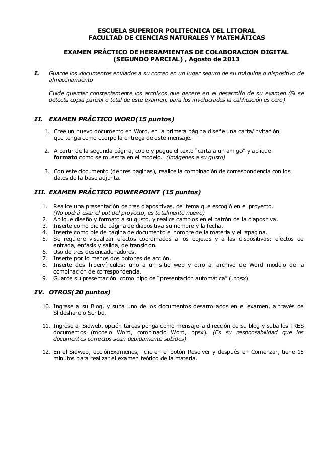 ESCUELA SUPERIOR POLITECNICA DEL LITORAL FACULTAD DE CIENCIAS NATURALES Y MATEMÁTICAS EXAMEN PRÁCTICO DE HERRAMIENTAS DE C...