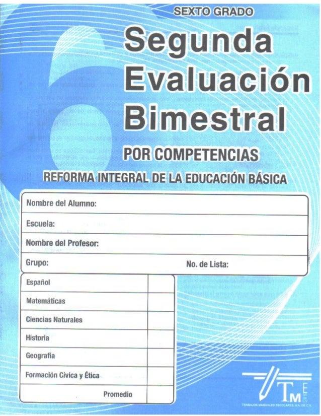 Examen 2do bim sexto grado por competencias