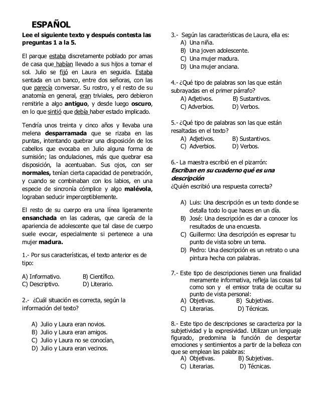 Examen 5°grado bimestre 5