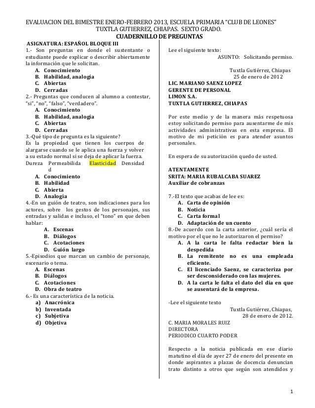 """EVALUACION DEL BIMESTRE ENERO-FEBRERO 2013, ESCUELA PRIMARIA """"CLUB DE LEONES"""" TUXTLA GUTIERREZ, CHIAPAS. SEXTO GRADO. CUAD..."""