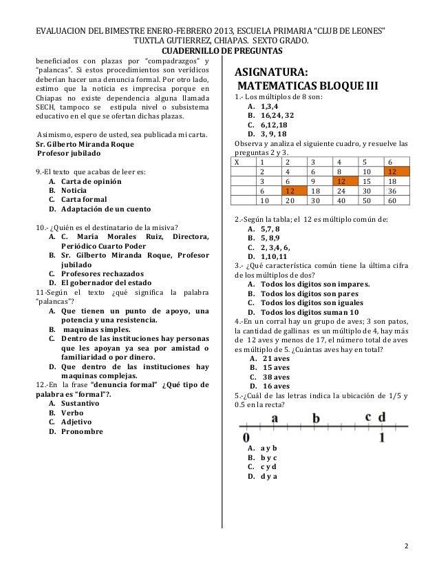 Examen BIMESTRE 3 SEXTO AÑO Slide 2