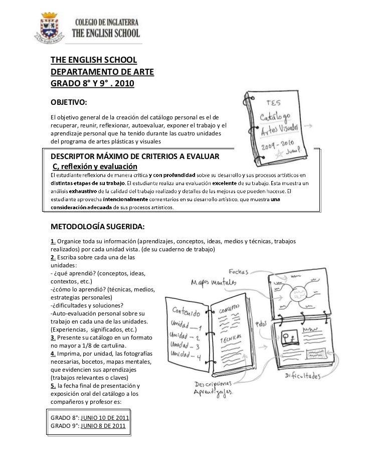 THE ENGLISH SCHOOL<br />3901440166370DEPARTAMENTO DE ARTE<br />GRADO 8° Y 9° . 2010<br />OBJETIVO:<br />El objetivo genera...