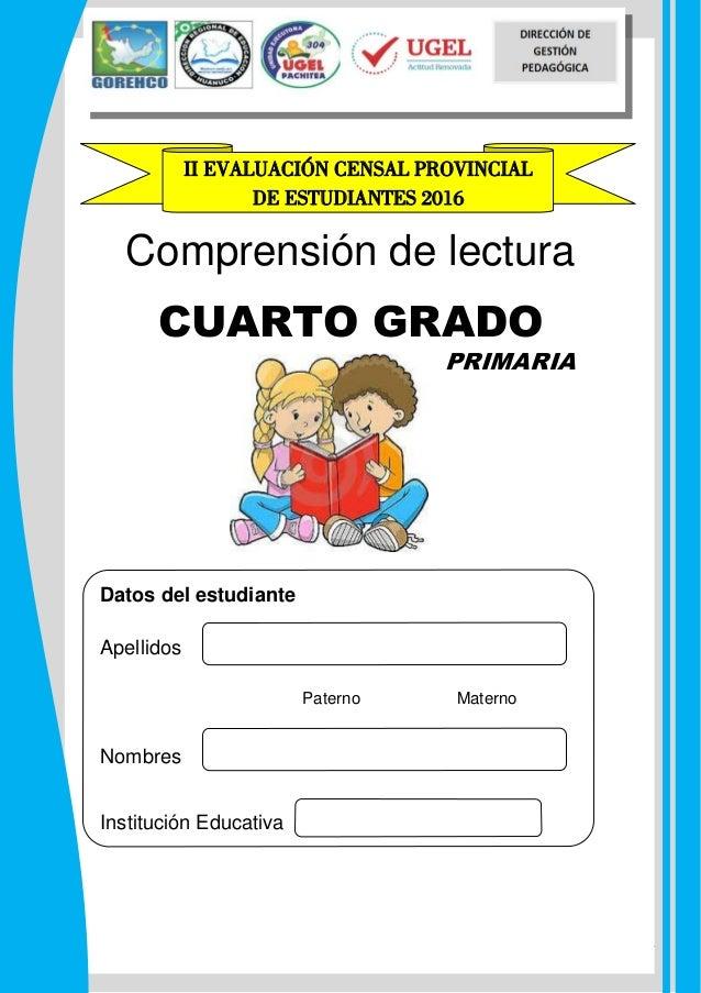 PRUEBA ECE COMUNICACION CUARTO DE PRIMARIA