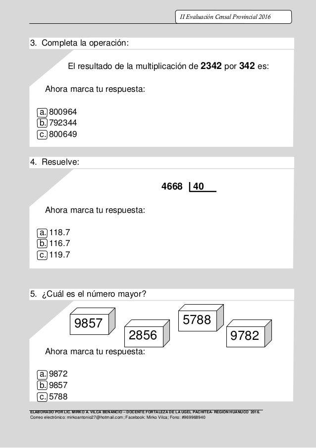 PRUEBA CENSAL MATEMATICA CUARTO DE PRIMARIA