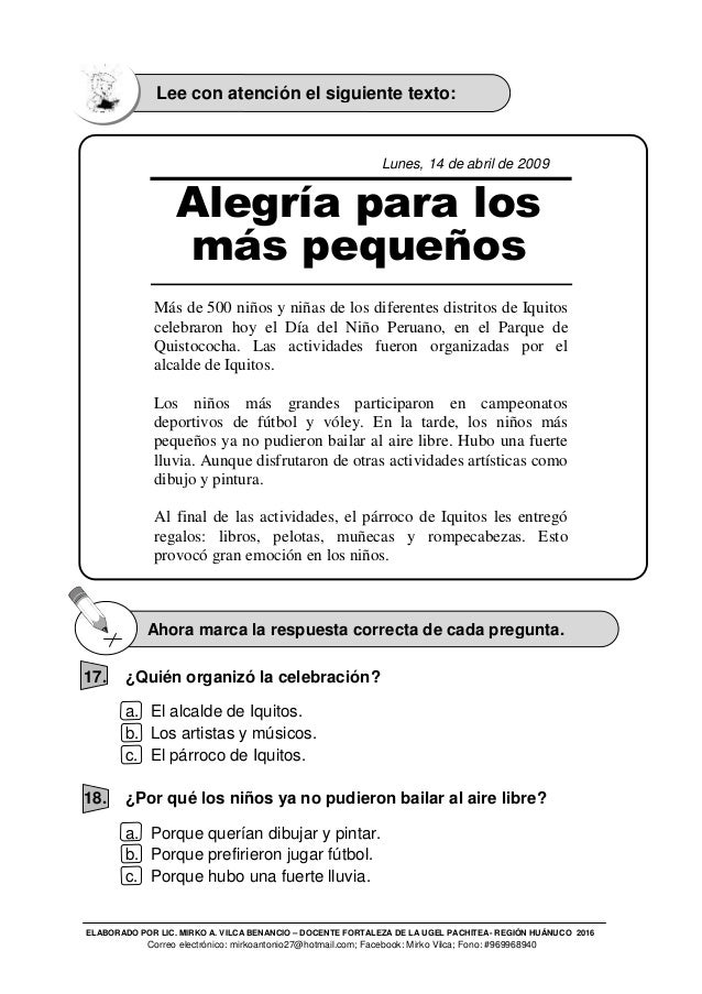 PRUEBA ECE COMUNICACION SEGUNDO GRADO DE PRIMARIA