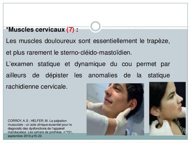 *Muscles cervicaux (7) : Les muscles douloureux sont essentiellement le trapèze, et plus rarement le sterno-cléido-mastoïd...